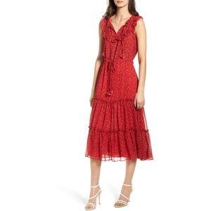 Misa Los Angeles Marcel Ruffle Trim Midi Dress
